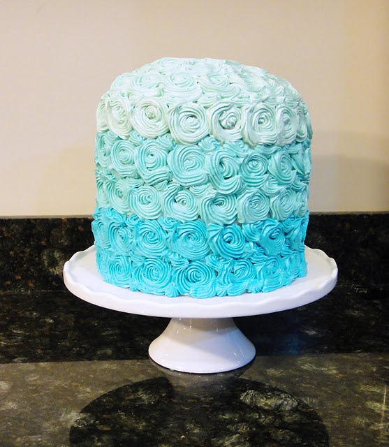 blue ombre cake Baby Boy Shower Pinterest