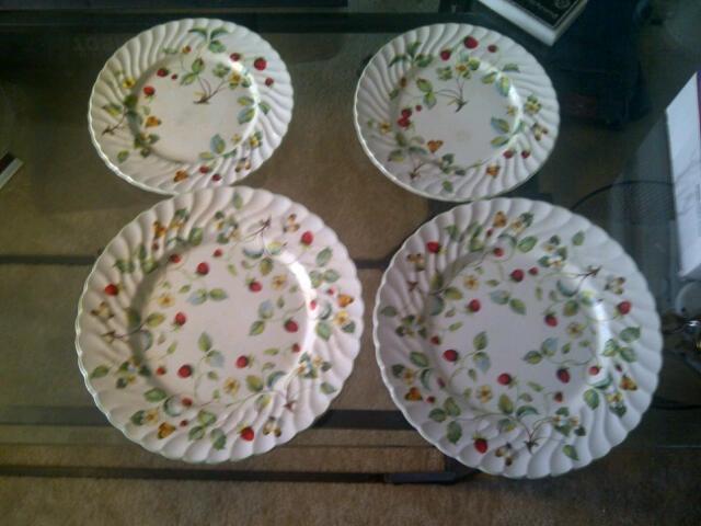 James Kent Old Foley strawberry dinner & salad plates