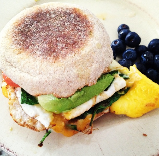 Sandwich - 1 whole wheat english muffin 1 egg , 1 slice cheddar cheese ...