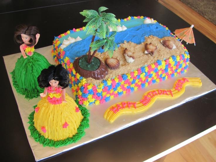 Hula Girl Cake Design : Hawaiian Hula Girls Birthday Cake Hawaiian Birthday cake ...