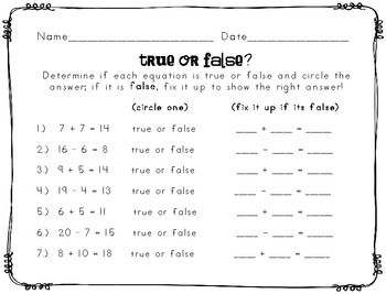 True or False Equations Worksheet | 1.0A.7 | Pinterest