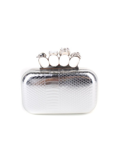 Skulls and Knuckles Clutch in Silver