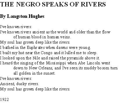 langston hughes the negro speaks of Hughes, langston the negro speaks of rivers literature and the writing process ed elizabeth mcmahan new.