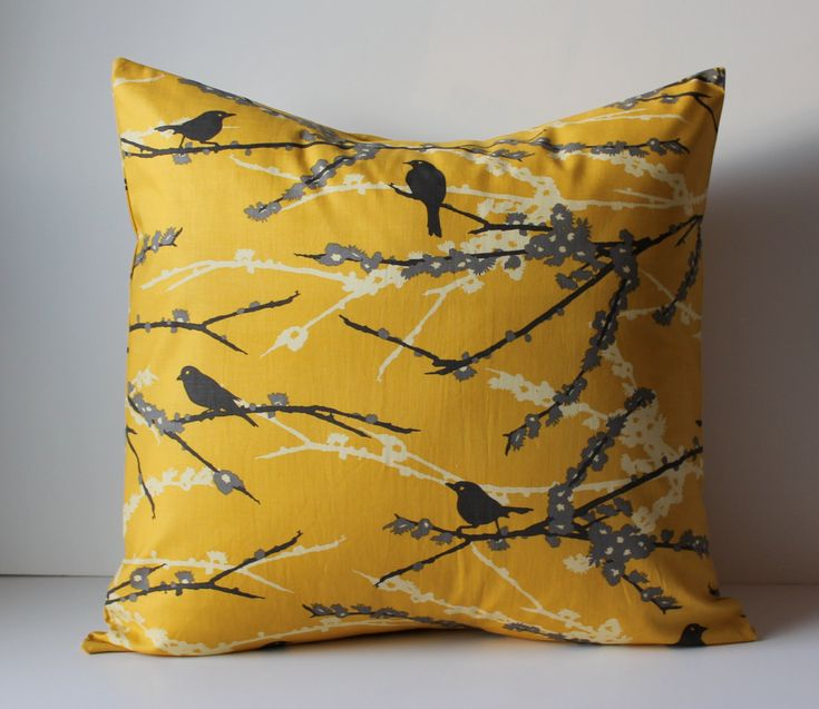 Mustard Throw Pillow Covers : Decorative Pillows Cushion Cover - Mustard Yellow & Gray Birds - 16 x?