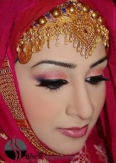 Beautiful golden headpiece for red muslim wedding dresses http