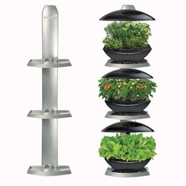 Aerogarden ultimate 3 shelf wall garden indoor garden for Indoor gardening lights