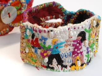 "Loukia Richards - textile bracelet - ""What I like most in Odyssey is the end: Penelope meets Odysseus alias ""Lovers' meeting"""