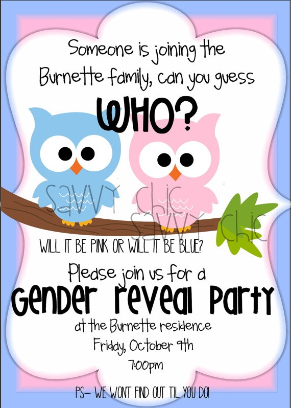 Owl-Themed Gender Reveal Party Invite