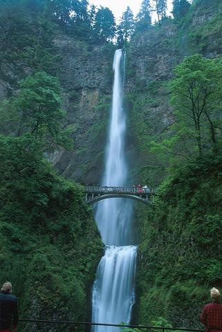 Multnomah Falls on the side of the Columbia River Gorge in Oregon. The tallest falls in Oregon.