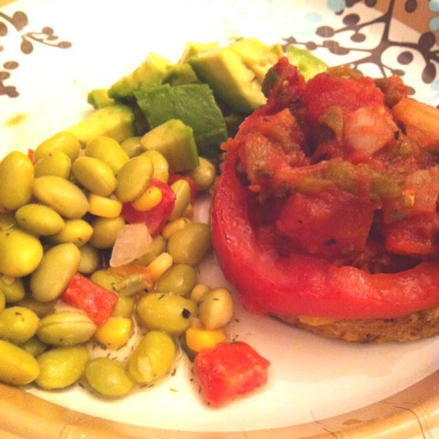 11/13 dinner- black bean burger, tomato slices, salsa, avocado ...