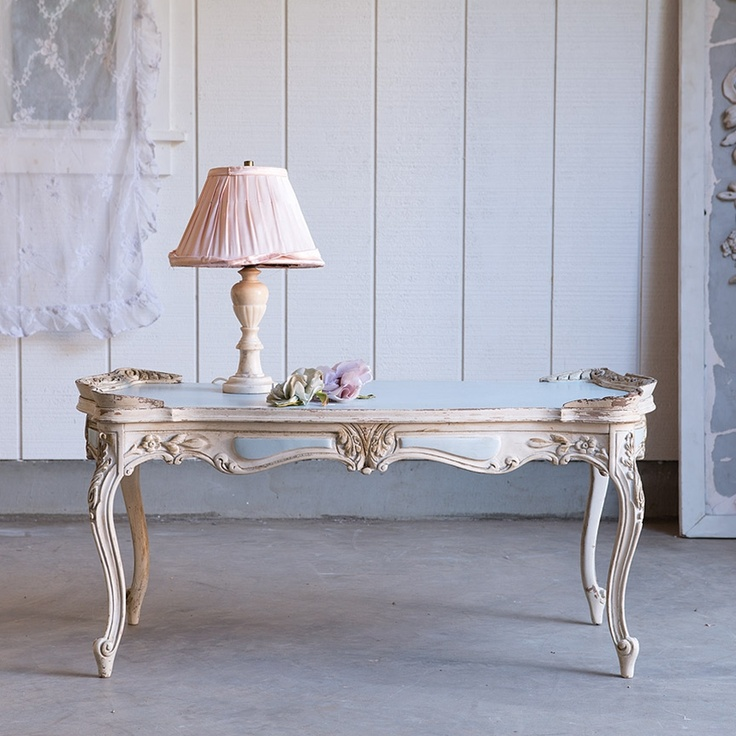 Vintage blue and cream coffee table Rachel Ashwell Shabby Chic Couture
