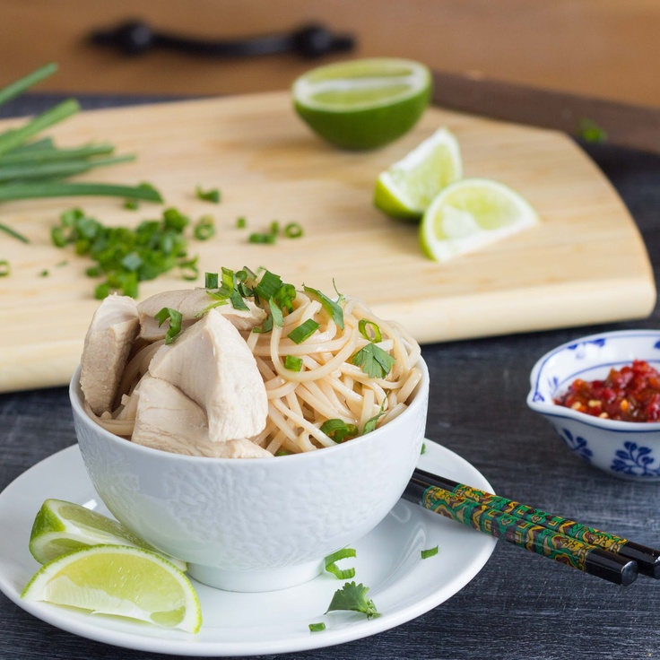 Simple Sesame Noodles with Ginger Poached Chicken