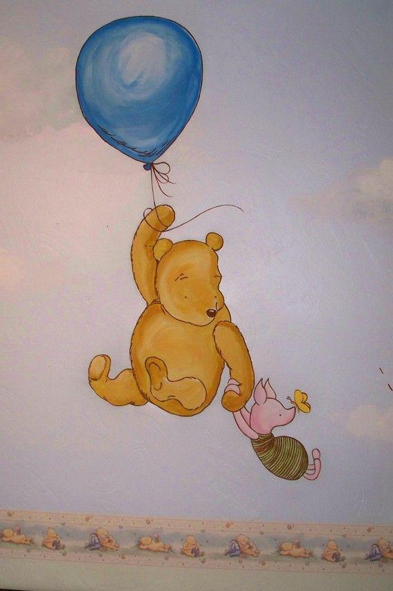 Winnie the pooh nursery mural please read description for Classic pooh wall mural