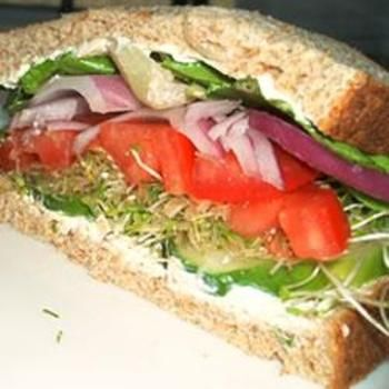 Cucumber Sandwich (skip the pepperoncini and replace with thinly sliced onions for lower sodium) // veggie :)
