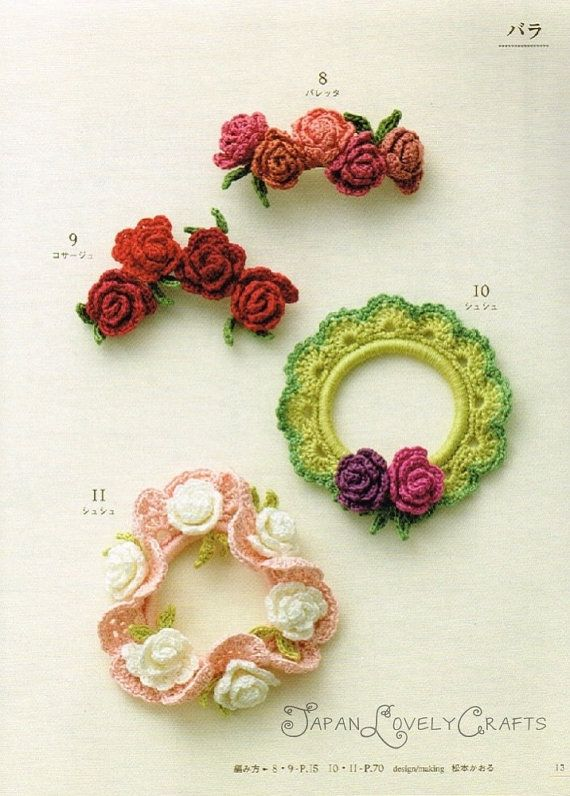 Crochet Hair Accessories : Petite flower crochet hair accessory Pretty headbands, barettes P ...
