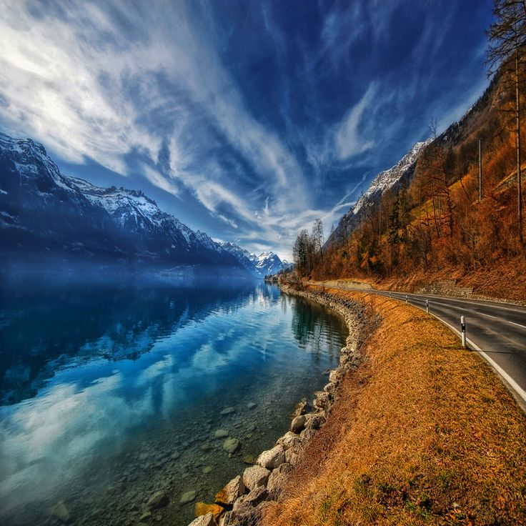 #landscape #nature #lake #water #blue #sky #road #mountain