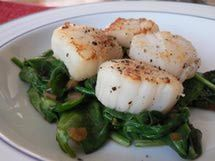Seared Scallops With Wilted Spinach - Delish!!
