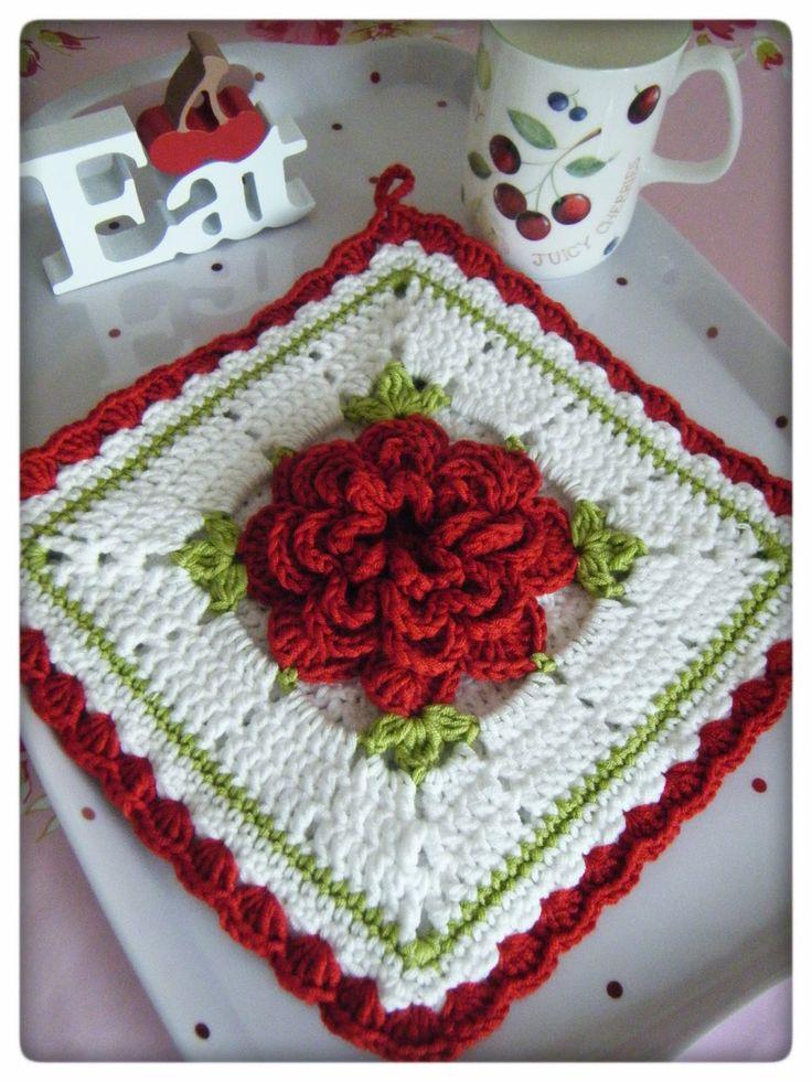 Crochet Flower Potholder Pattern : Crochet Potholder. Garden of Blooms in Crochet Pinterest