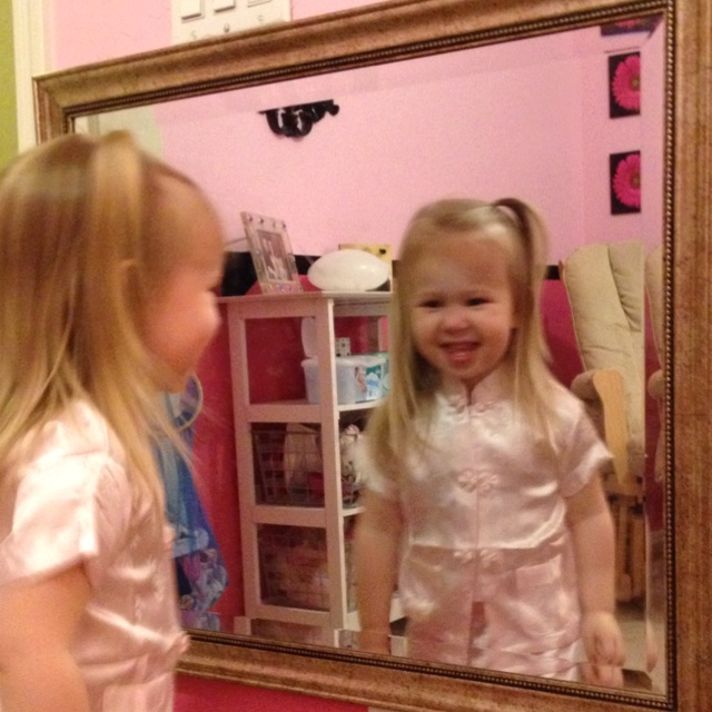 Hang a mirror in your daughters room at her eye level! She'll dance, she'll twirl, she'll love being a girl!