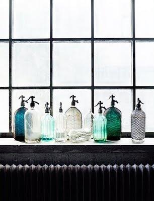 vintage art deco seltzer bottles