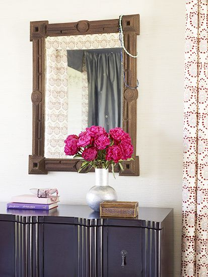 Collected beads strung on a mirror // ethnic decor, peonies