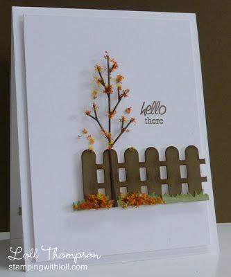 Самодельная осенняя открытка с деревцем и забором ПРИВЕТ