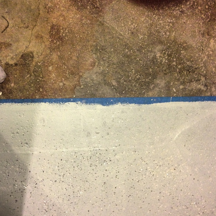 basement floor before and after floor paint color and mica chips