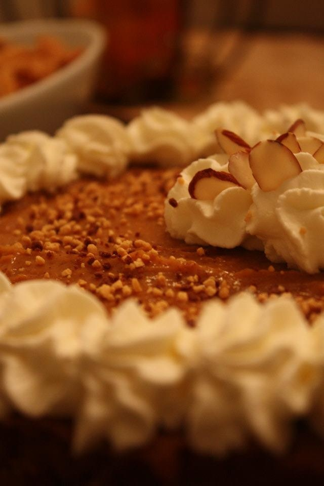 pumpkin pie cheesecake - made for thanksgiving 2013. It's very good ...