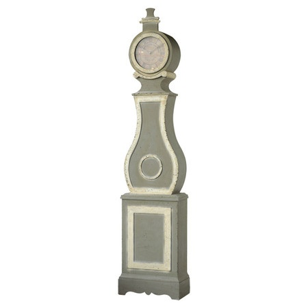 Wood grandfather clock in distressed taupe.Product: Grandfather clockConstruction Material: Solid wood