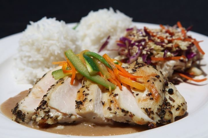 Grilled garlic-thyme chicken with apple-onion soy butter #catering