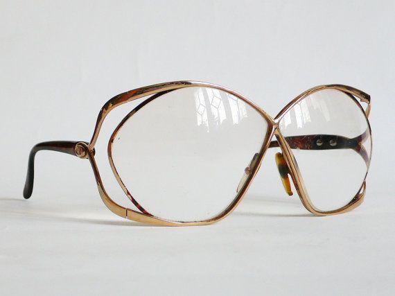 Vintage Dior Eyeglass Frames : Rare christian DIOR Vintage Eyeglass Golden Frames 1980s ...