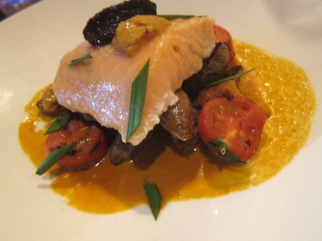 olive oil poached salmon with uni, Fid | To Eat and Drink | Pinterest