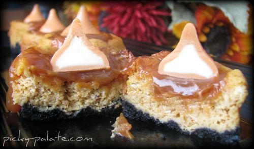 Black Bottomed Mini Caramel Pumpkin Cheesecake Bites