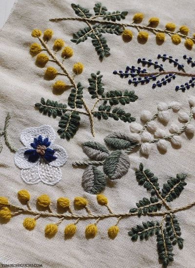 Sewing ideas - embroidery spring flower by yumiko higuchi//