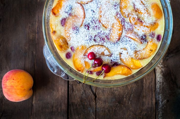 Recipe follows...: Cherry and Peach Clafoutis and 'I miss you' ~