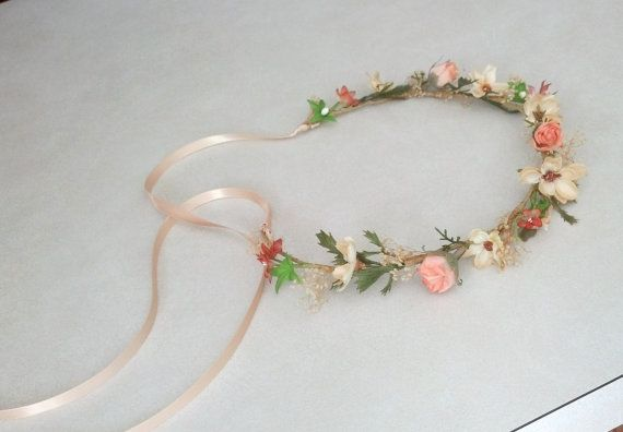 Peach Wedding Flower Girl Halo Woodland Bridal Floral Crown Autumn Ha