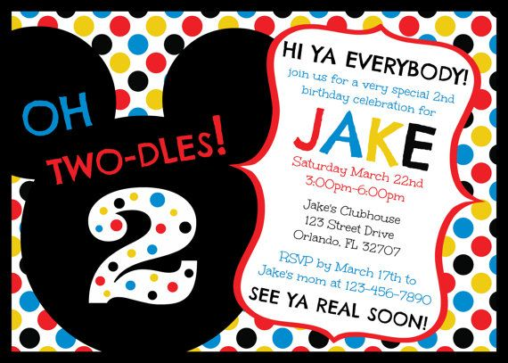 Mickey Mouse Clubhouse Oh Two-dles 2nd Birthday Invitation ...