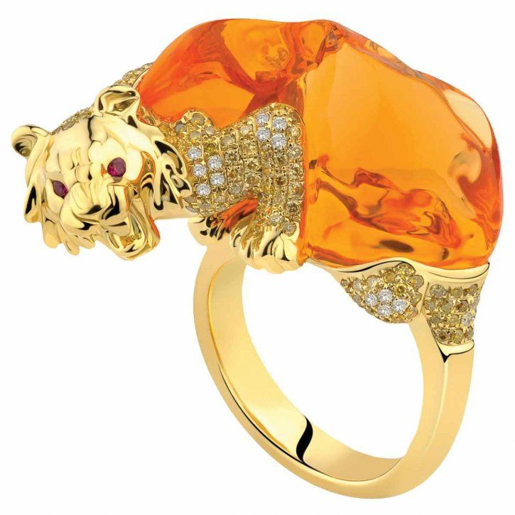 Fire Opal and Diamond Lion Ring by Forever Jewels