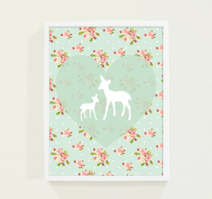 Pink And Green Wall Decor For Nursery : Heart mint green nursery art pink floral deer kids wall