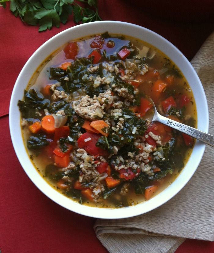 Turkey, Kale and Brown Rice Soup: a hearty, healthy soup and light ...