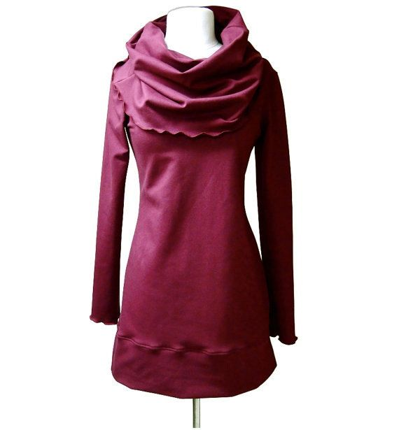 Long pullover tunic dress - cowl dress - organic womens clothing