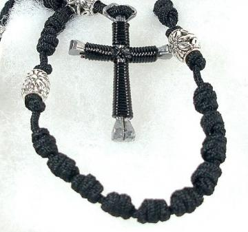Hand Knotted Rosary with Horseshoe Nail Cross - Black by ...