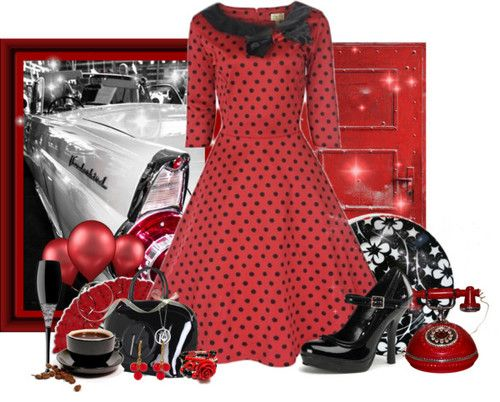 50s Style Dress by tacciani featuring satchel style handbags