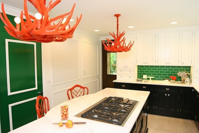 White, orange and green kitchen  Color Story: Green with Envy  Pint ...