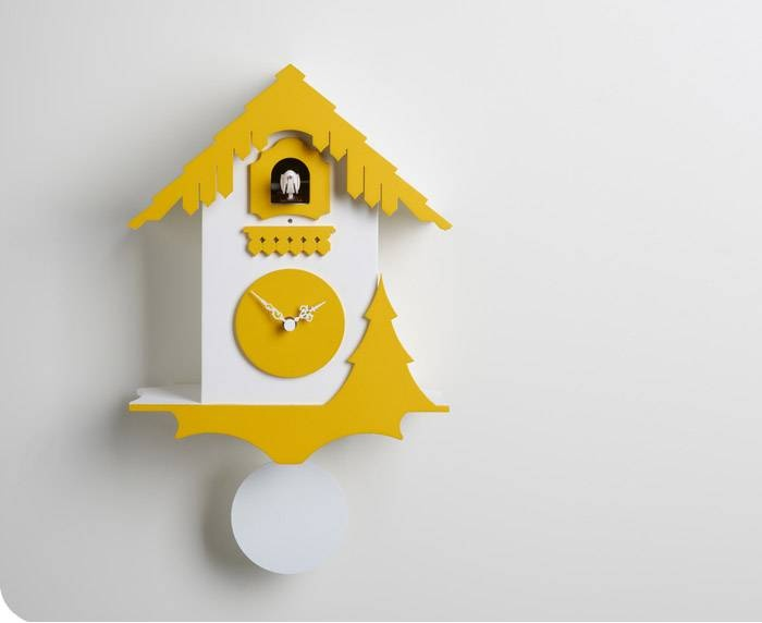 Chalet Clock in Yellow and White