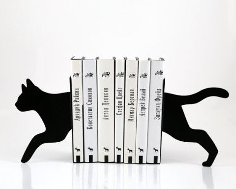 Bookends - Running Cat - laser cut for precision these metal bookends will hold your favorite books