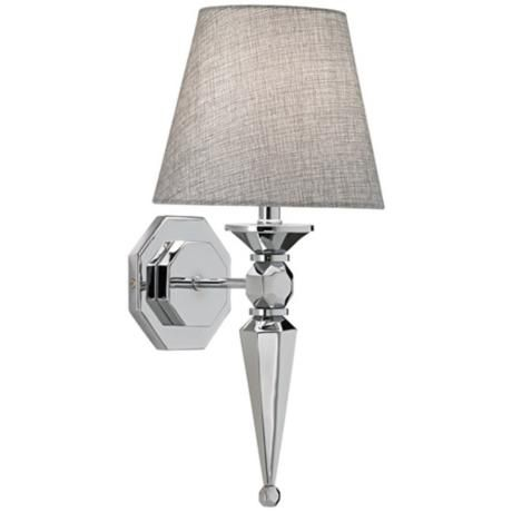Chrome Wall Sconce With Fabric Shade : Textured Fabric Shade 17 1/4