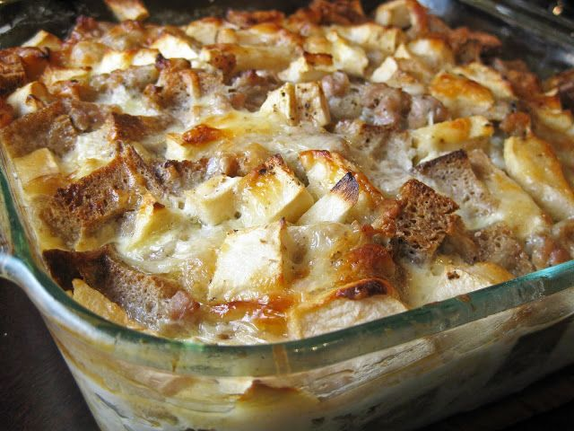 Sausage, Apple, and Cheddar Breakfast Strata - A Hint of Honey