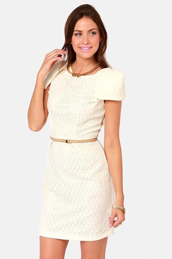 Fine Dining Cream Lace Dress