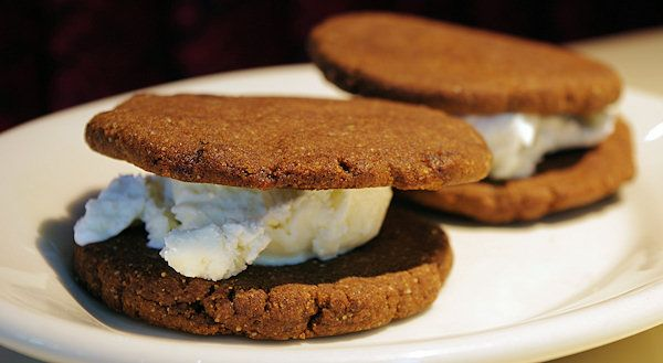 ... gluten free) ginger cookies and Homeland Creamery vanilla ice cream